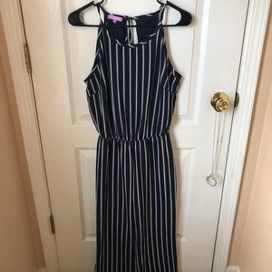 NWOT Navy Jumpsuit with White Stripes